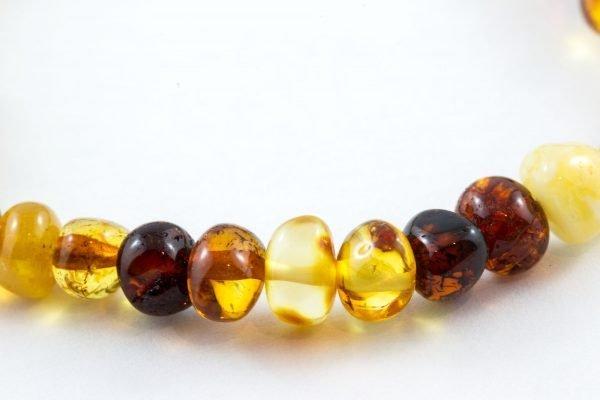 Bracelet Cheville Bébé Unisexe 100% Ambre de la Baltique Certifié Polis - Multicolore