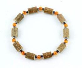 Bracelet Cheville Femmes Ambre & Noisetier - Hématite
