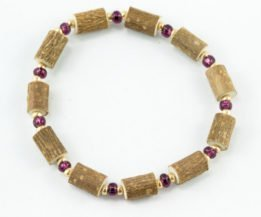 Bracelet Cheville Femmes Noisetier - Prune/Or