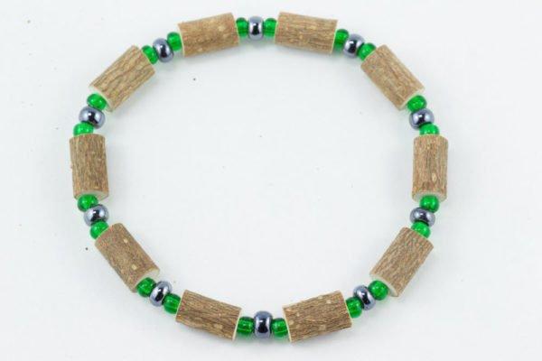 Bracelet Hommes Noisetier - Hématite/Vert