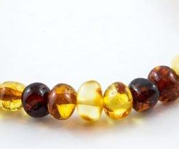Bracelet Unisexe 100% Ambre de la Baltique Certifié Polis - Multicolore