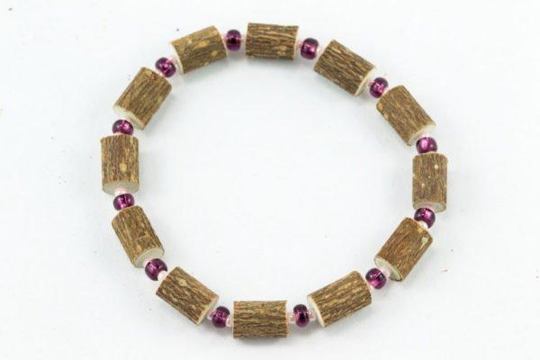 Bracelet Femmes Noisetier - Prune/Rose tendre