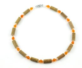 Collier Bébé Ambre & Noisetier - Orange