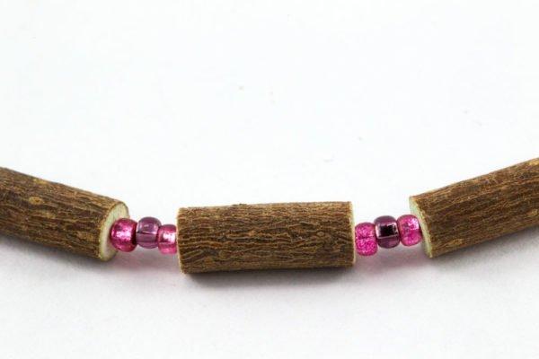 Collier Bébé Noisetier - Prune/Rose framboise métallique