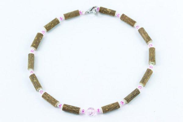 Collier Bébé Noisetier Pendentif cristal Swarovski rose - Blanc/Rose clair
