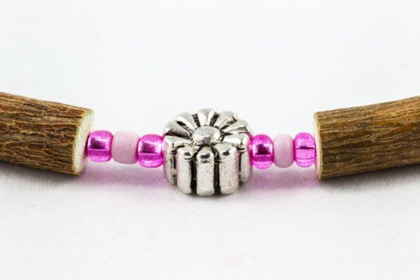 Collier Bébé Noisetier Pendentif fleur métallique - Rose clair/Rose mât