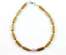 Collier Bébé Noisetier Pendentif cristal Swarovski mauve - Mauve/Rose pâle