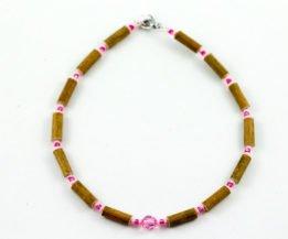 Collier Bébé Noisetier Pendentif cristal Swarovski rose - Rose mât/Rose framboise métallique