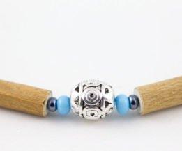 Collier Bébé Noisetier Pendentif métallique - Turquoise/Hématite