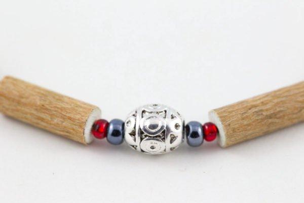 Collier Bébé Noisetier Pendentif métallique - Hématite/Rouge