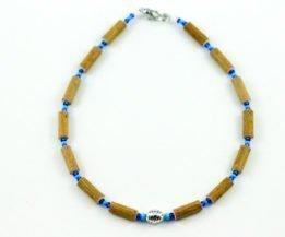 Collier Bébé Noisetier Pendentif métallique - Turquoise/Bleu foncé