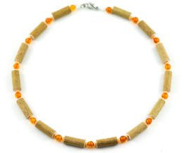 Collier Enfant Ambre & Noisetier - Orange