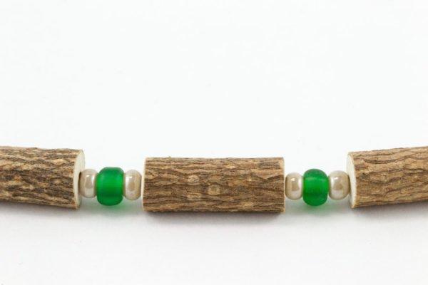 Collier Hommes Noisetier - Vert mât/Blanc cassé