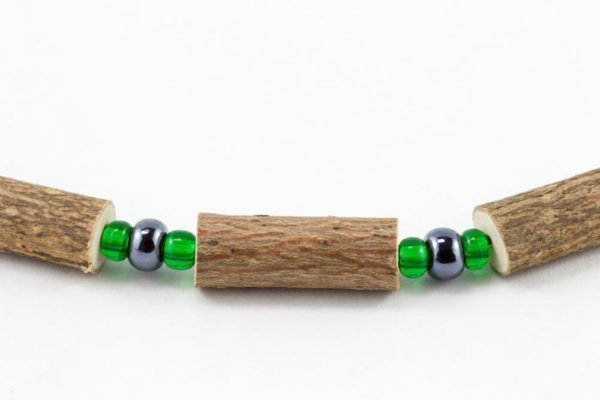 Collier Hommes Noisetier - Hématite/Vert